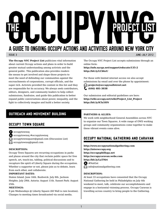 Occupy Wall Street Project List - Issue #3