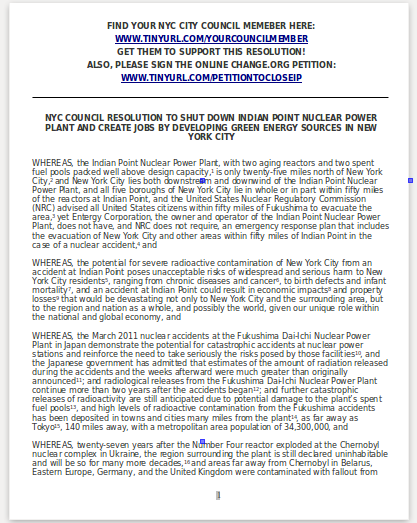 NYC City Council Resolution to Close Indian Point